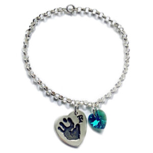 Handprint charm with Swarovski crystal heart on a sterling silver chain bracelet