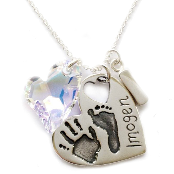 Large heart charm with both hand and footprint, Swarovski crystal heart and initial charm on a sterling silver chain