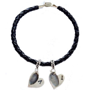 Leather and silver bracelet with mini fingerprint charms