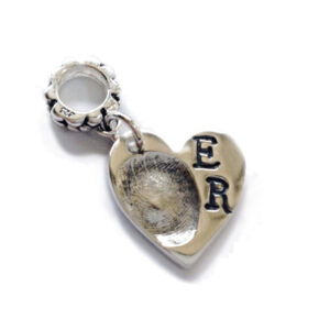 Mini fingerprint heart shaped charm