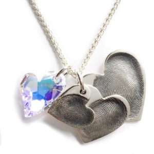 Triple descending hearts with Swarovski crystal heart on a sterling silver chain